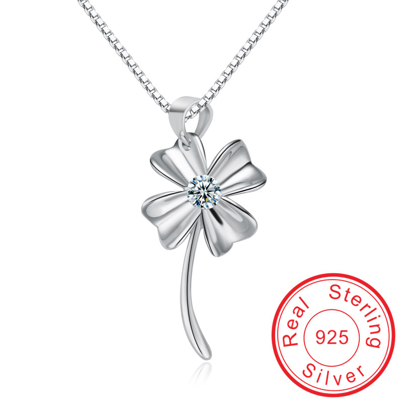 Wholesale Clover shape 100% 925 Sterling silver Crystal Necklace for women top quality wedding Pendant valentine's gift VCYA069(China (Mainland))