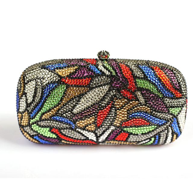 Luxury Women Designer Handbags High Quality Brand Crystal Clutch Purse Leaves Patterns Multi Color Discount Evening Clutch Bag(China (Mainland))