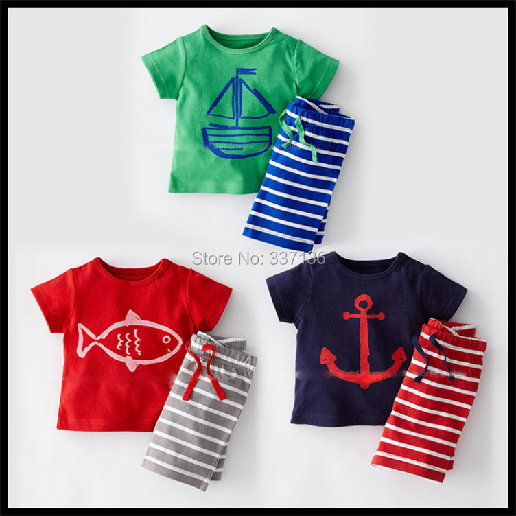 Summer Baby Boys Sailing Printed Anchor T-Shirt Striped Short Pants Two-piece Suit Infant Toddler Children Outfits - BD Jewelry Coo..Ltd store