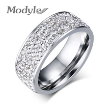 18K White Gold Plated CZ Diamond Wedding Ring Austrian Crystal Stainless Steel Ring Wholesale For Women(China (Mainland))