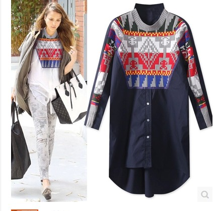 101 New 2015 Spring Fashion Women Casual Loose Blouse Long Shirt High Quality Wool Patchwork Design Long Sleeve Shirts Plus SizeОдежда и ак�е��уары<br><br><br>Aliexpress
