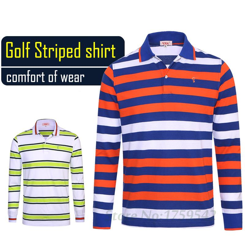 Spring and Autumn Clothing Men's Shirt Collar Mens Golf Polo Lapel Striped Long Sleeved T-shirt(China (Mainland))