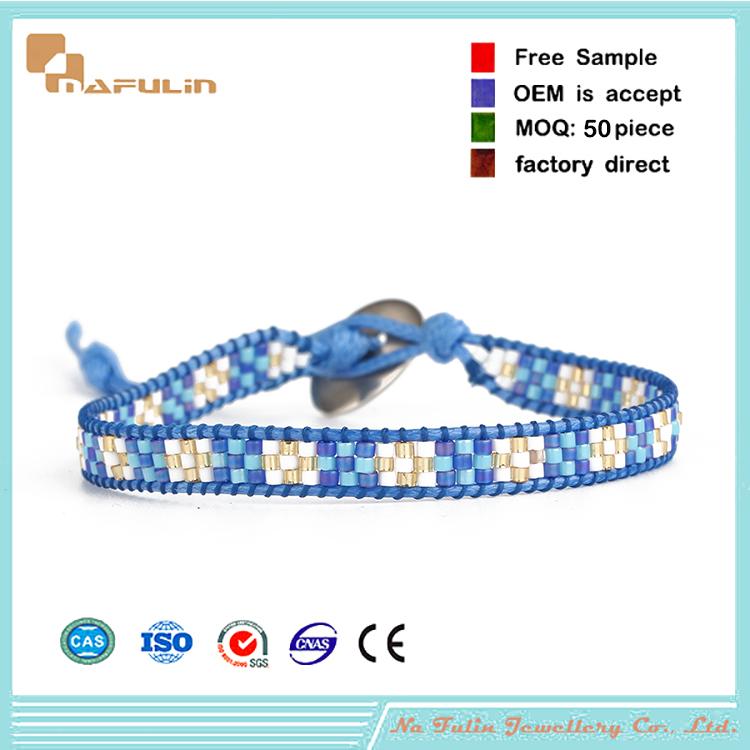 Hot sale handmade jewelry Japanese leather wrap seed bead bracelet(China (Mainland))