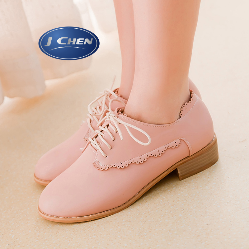 Free shipping 2016 spring/autumn round toe square low heels woman shoes charm lace up beige black pink apricot woman shoes
