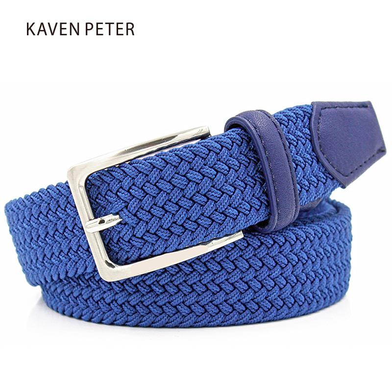 "Men Blue Elastic Stretch Waist Belt Canvas Stretch Braided Elastic Woven Leather Belt 1-3/8"" Wide Hot Metal Stretch Belt For Men(China (Mainland))"