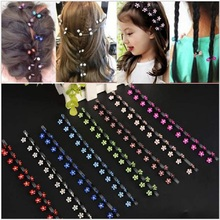 6Pcs/Lot New Children Hair Accessories Hair Clip For BB Girls New Cute Artificial Crystal Snowflake Flower Shape Mini Hair Claw