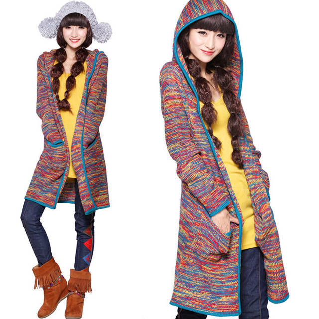 Winter Autumn 2014 Korean long hooded sweater coat of long cardigan colorful knitting color hooded sweater(China (Mainland))