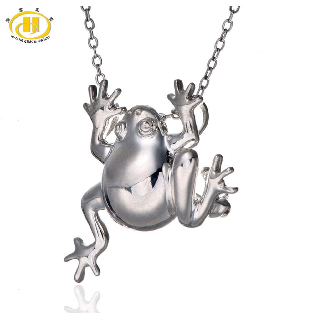 Hutang Solid 925-Sterling-Silver Jewelry Frog Brooch Pendant Fine Jewelry Sterling Silver HuTang