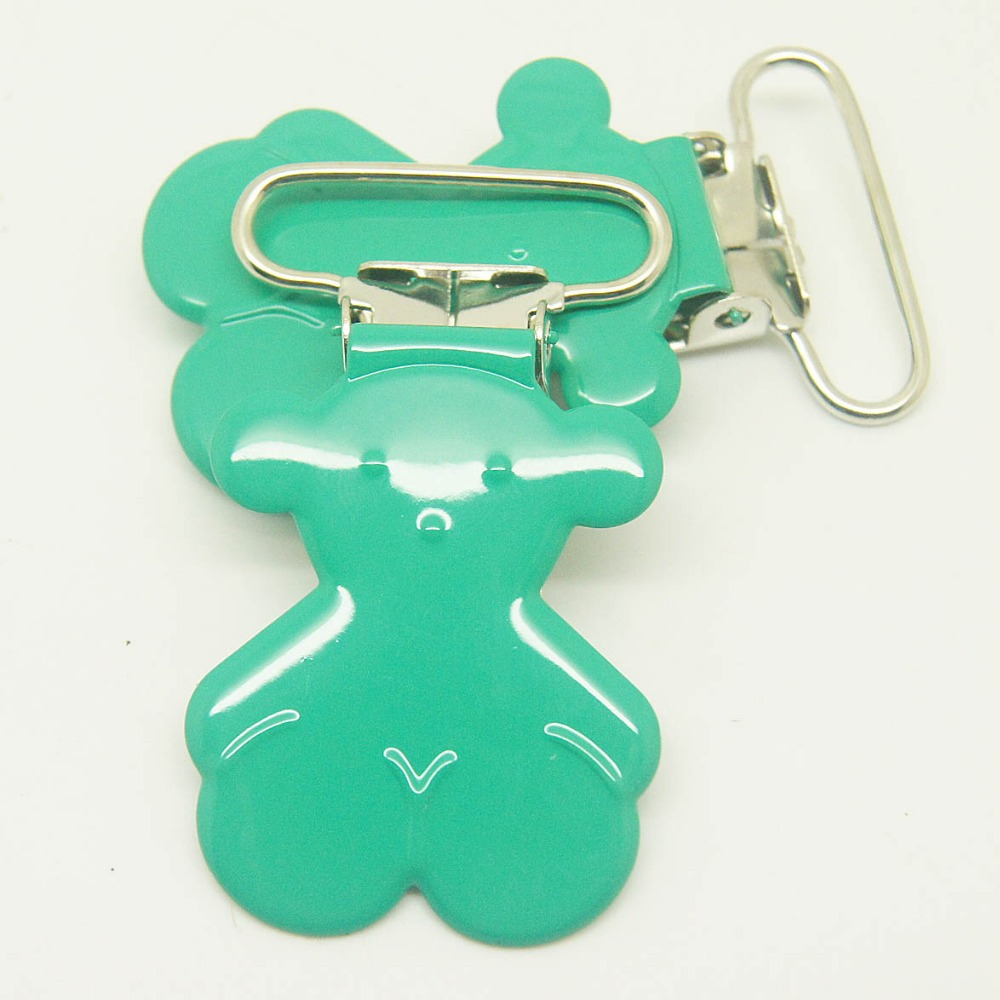 5,bear shaped suspender clip bottle green 25mm ribbon pacifier clips
