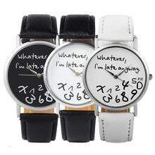 New Fashion Women Leather WristWatches Letter Geneva Watch whatever I'm Already Late Irregular Figure Quartz Watch free shipping