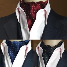 High Quality Men Vintage Polka Dot Wedding Formal Cravat Ascot Scrunch Self British style Gentleman Silk Neck Tie Luxury