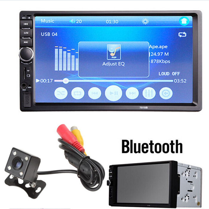 7 Inch LCD HD Double DIN Car In-Dash Touch Screen Bluetooth Car Stereo FM MP3 MP5 Radio Player with Wireless Remote Control