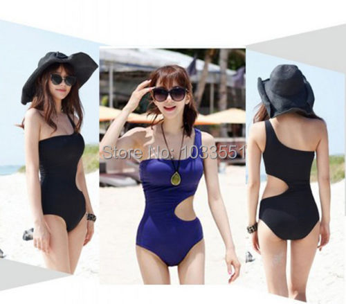Beauty One Shoulder Swimsuit Monokini Bathing Suit One Piece Women Swimwear(China (Mainland))