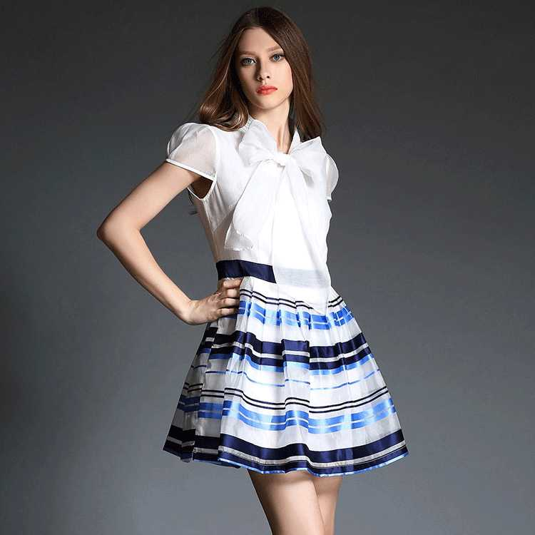 Top Quality summer 2015 Europe new organza splice stripe slim stylish body puff sleeve dress 1435285417(China (Mainland))