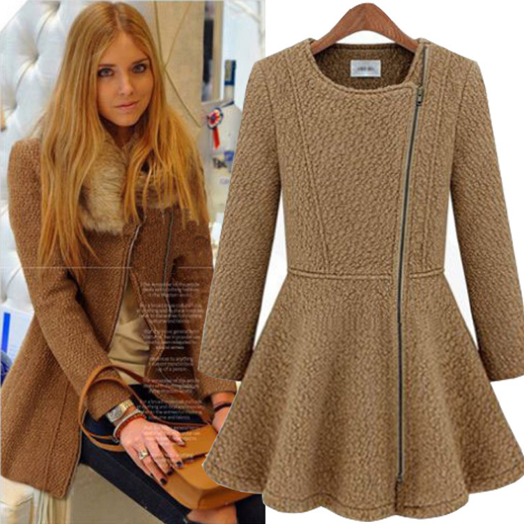 New Fashion Women Slim Wool Blend Trench Warm Coat Dress Jacket Double