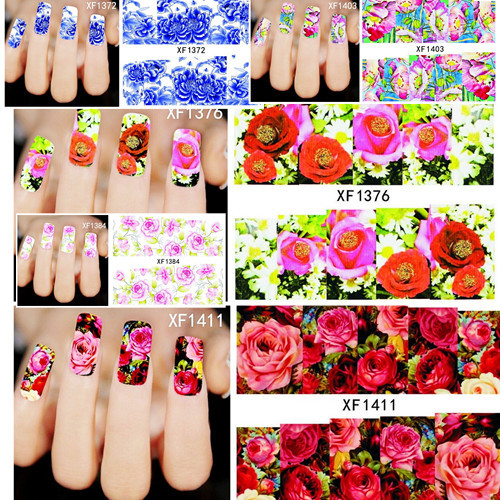 1 sheets Beautiful Flowers Nail Art Nail Decals Water Transfer Printing Stickers Decoration Salon DIY Manicure Tools(China (Mainland))