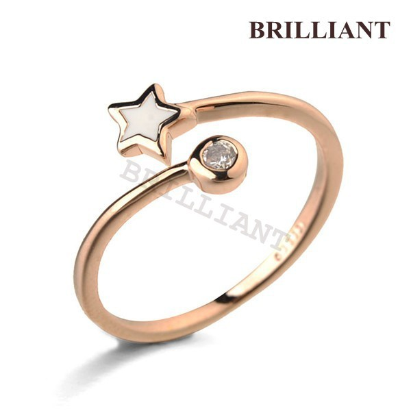 BRA004 Lovely star Clear Crystal 18K Rose Gold Plated Fashion Rings Jewelry SWA Elements Italina factory - Brilliant store