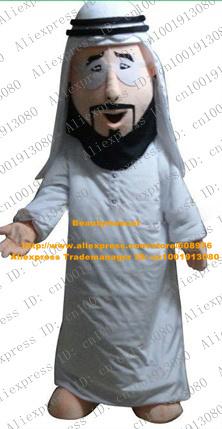 Fancy White Arabic Man Mascot Costume Mascotte Arabian Arab People With Black Bushy Beard Long White Skirt No.4629 Free Ship(China (Mainland))