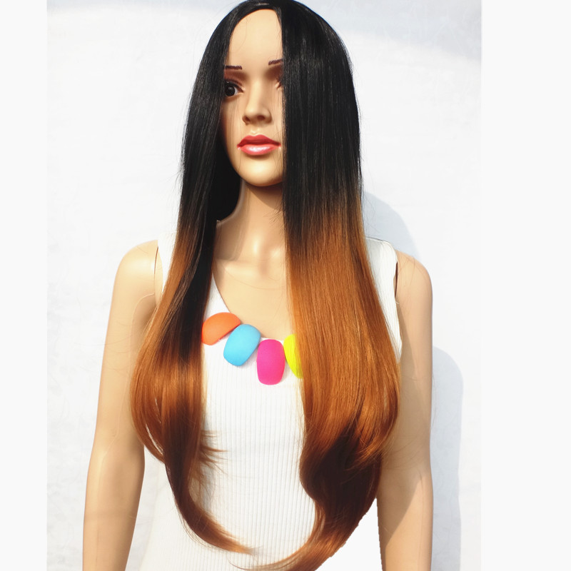 2015 Female Long Black Wigs Kanekalon синтетический Cosplay Full Wigs Black+Brown Grey Ombre Color Heat-resisting Middle Bangs