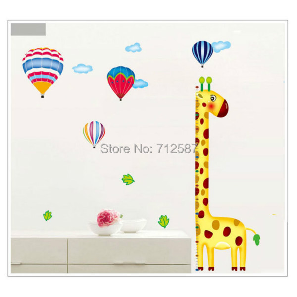 New Cartoon Giraffe Kids Growth Chart Height Measure For Home/Kids Rooms DIY Decoration Wall Stickers(China (Mainland))