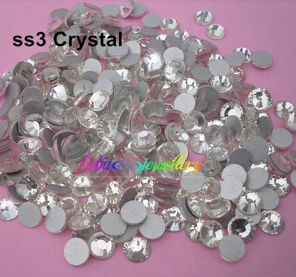 Free Shipping! 1440pcs/Lot, ss3 (1.3-1.5mm) Crystal/Clear Flat Back ( Nail Art ) Non Hot Fix Glue on Rhinestones(China (Mainland))