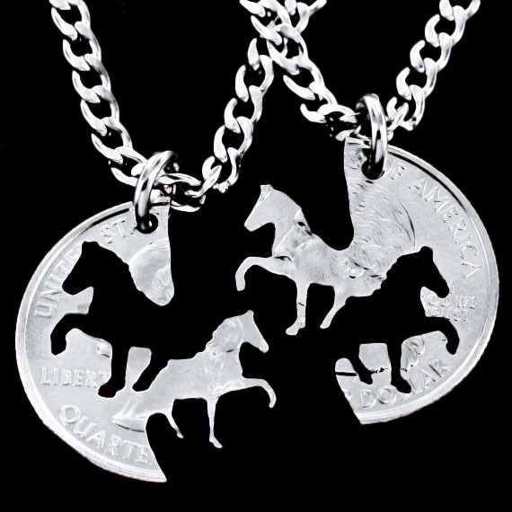 Bijuteria 2015 Horse Pendant Couple Necklace,Pendants for friends American Coin Necklaces,Colar Vintage Cheap Costume Jewelry(China (Mainland))