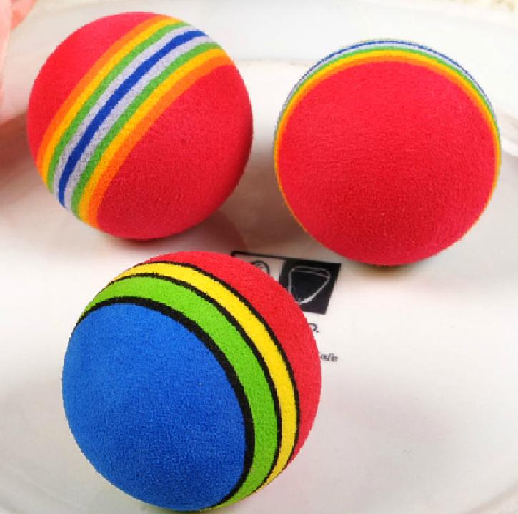 10pcs/lot Free Shipping Super Q Rainbow Toy Ball Small Dog Cat Pet EVA Toys Golf Practice Balls 35mm 42mm(China (Mainland))