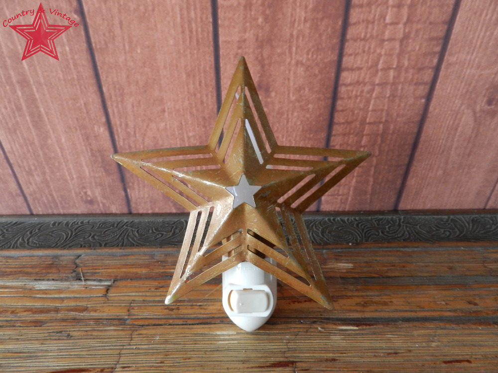 Electric Night Light, Rusty Star With Punched Tin Stripes, Milk Chocolate Color, 7 Watt silicone candle bulb Included(China (Mainland))