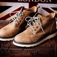 New Fashion Men Martin Boots Round Toe Lace Up Men's Shoes Genuine Leather Platforms Outdoor Boots