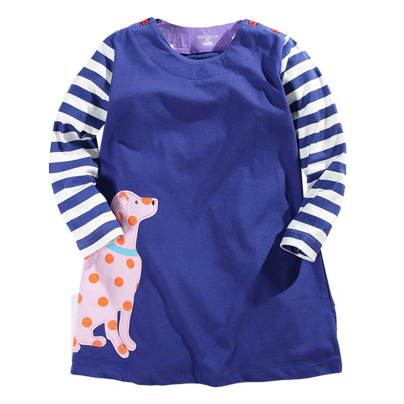 autumn/spring clothing girl child dress blue stripe with long sleeves Dalmatian design kids girls children dress for children(China (Mainland))