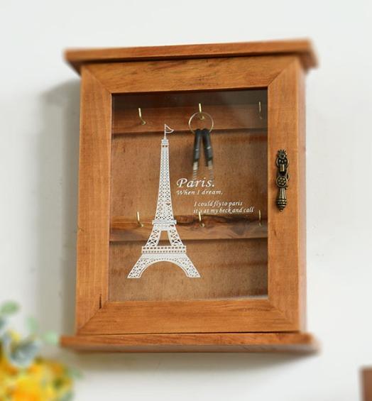 Retro Wood Key Box French Paris Eiffel Tower Home Decor Wall Mount Storage Key Hanging