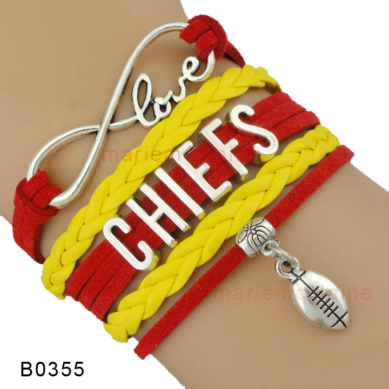 (10 Pieces/Lot) High Quality Infinity Love Kansas City Chiefs Football Bracelet Red Gold Gift for Football Fans Drop Shipping(China (Mainland))