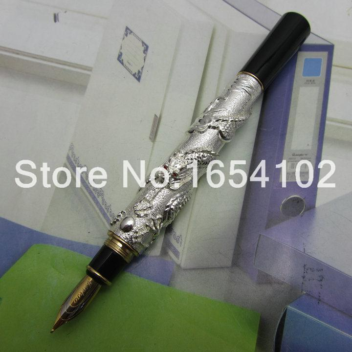 Advanced Fountain Pen Jinhao Chinese Dragon silver Heavy Gift Pen with Original Gift Box J1171