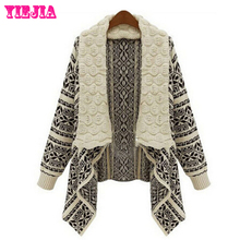 2015 Autumn and Winter Cardigan women Europe and America Cardigans Fashion Loose Casual Sweater Female Ponchos and Capes Coat(China (Mainland))