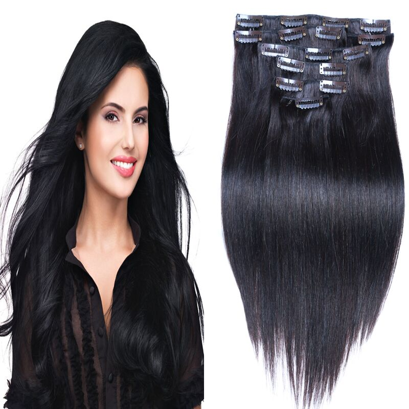 HOT Peruvian Clip In Human Hair Extensions Peruvian Hair Straight Clip In Hair Extensions 1# 70g-160g 7/10 pcs/set Mixed Color<br><br>Aliexpress