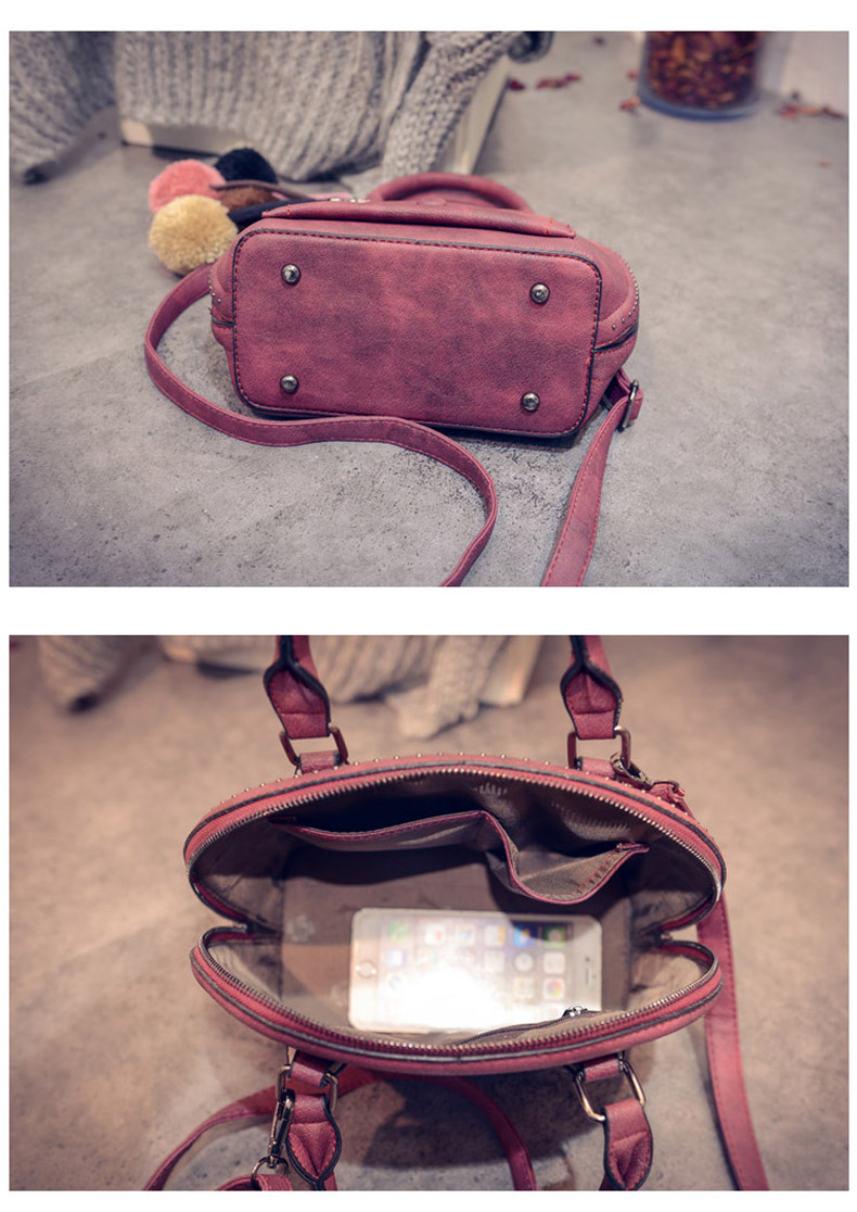 Stylish New Shell Bag Trendy Retro Small Handbag Front Patch Pocket Small Rivets Women Solid Color Nubuck Shoulder Bag