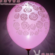 10pcs/lot Romantic Night Light Luminous LED Balloons Heart Rose Print Valentines Flash Balloons Wedding Decoration(China (Mainland))