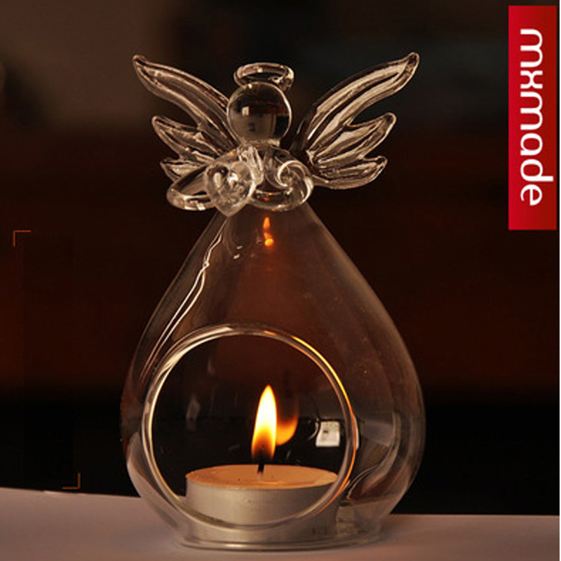 New Arrive Lovely Angel Shape Votive Candle Holders Centerpieces,Transparent Glass Candle Holders for Dinner Party Decoration(China (Mainland))