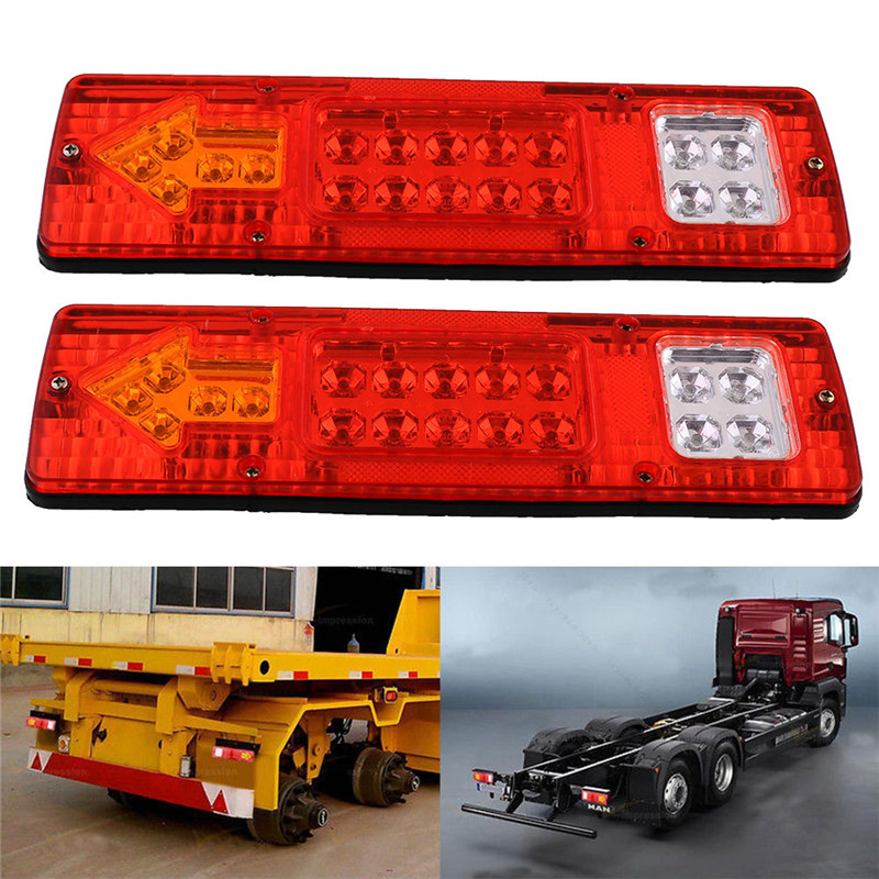 One Pair 19LED Durable Turn Signal Tail Universal LED Square Truck Tail Light Lamp High Quality P12 0.5(China (Mainland))