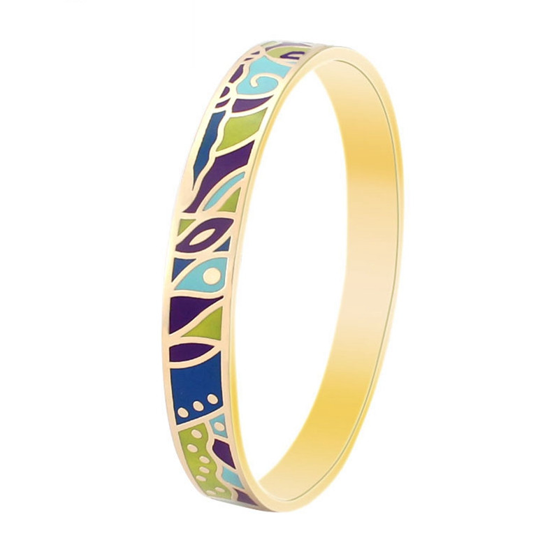 Women Enamel Bangles Gold Plated Promotional Newest Special Pattern Shiny Gift Party Wedding 2115(China (Mainland))