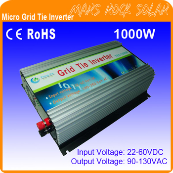 1000W  DC22V~60V, AC 90V-130V, 50Hz or 60Hz Pure Sine Wave Solar Inverter Grid tie solar inverter for 1200W solar panel