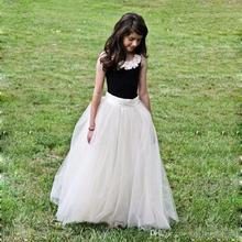 2016 Popular Cheap Elegant Flower Girl Dresses For Wedding Children Long Tulle Crew Floor Length Formal Girls Pageant Dress FL33