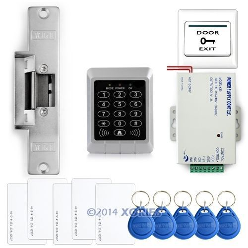 RFID Access Control System Kit Set +Strike Door Lock +RFID +Power +Exit Button(China (Mainland))