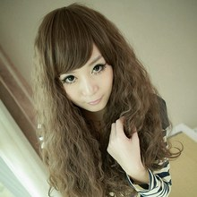 4 Colors Women Corn Perm Fluffy Long Curly Hair Wig Oblique Bangs Wig HB88(China (Mainland))