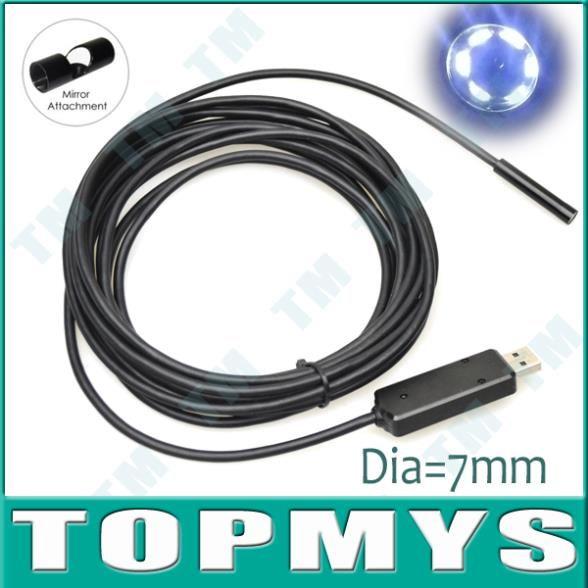 Free shipping 5m 7mm Lens USB Endoscope Inspection Camera 6LED IP66 Waterproof Borscope Side-view Mirror as gift ,TM-IC5C<br><br>Aliexpress