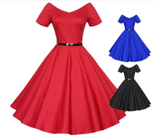 40s 50s 60s Women's Vintage V-neck Swing Rockabilly Pinup Ball Gown Party Dress