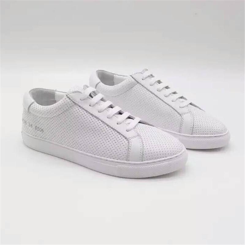 Фотография Original Common Projects Women Men Casual Shoes Spring Autumn Classic White Genuine Leather Sheepskin Shoes Sapatos Estrelas Wit
