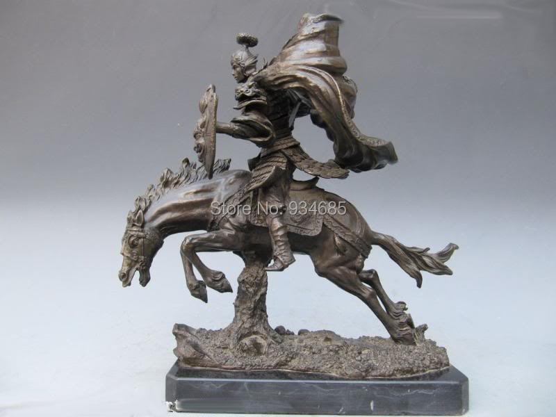 Chinese Pure Bronze Three Kingdoms ZhaoYun warrior Statue(China (Mainland))