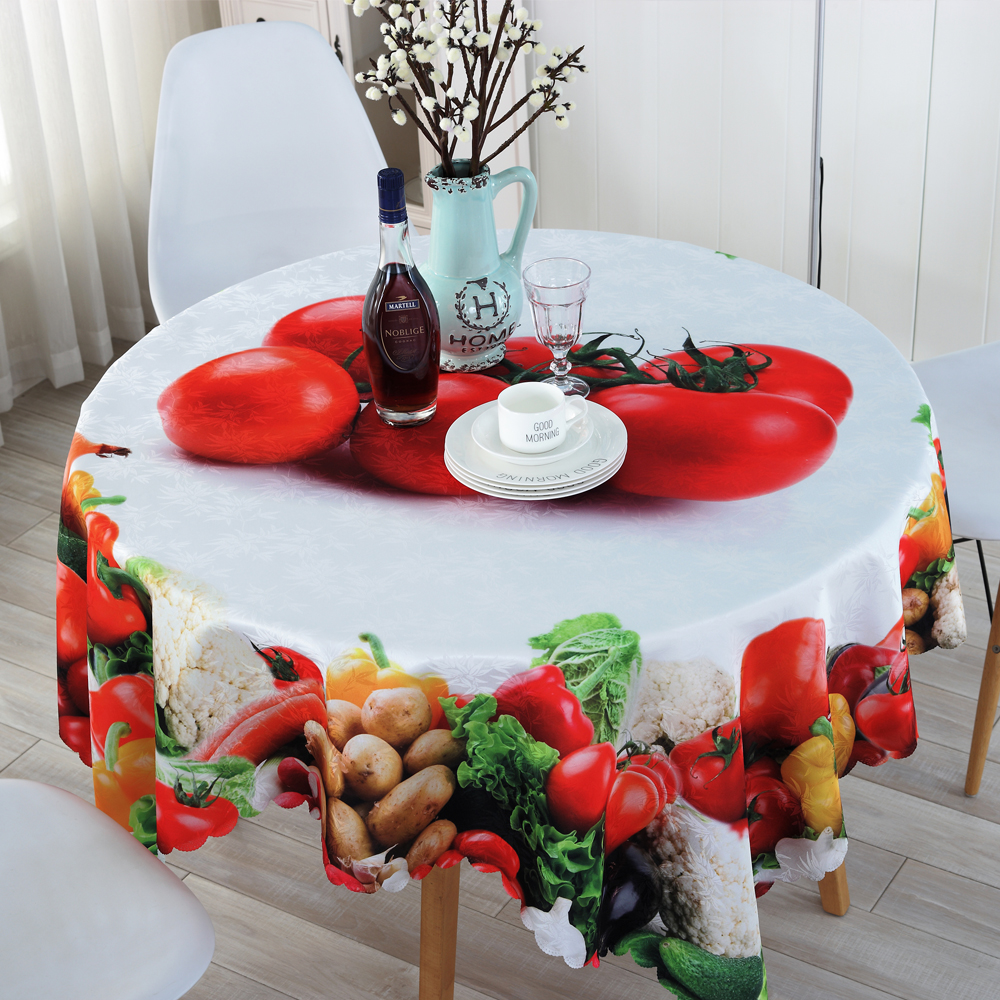 Round Tablecloths Fresh Vegetable and Fruit High-quality Printing Custom Table Cloth Outdoor Dining Dust-proof Table Cloth ZS-4(China (Mainland))