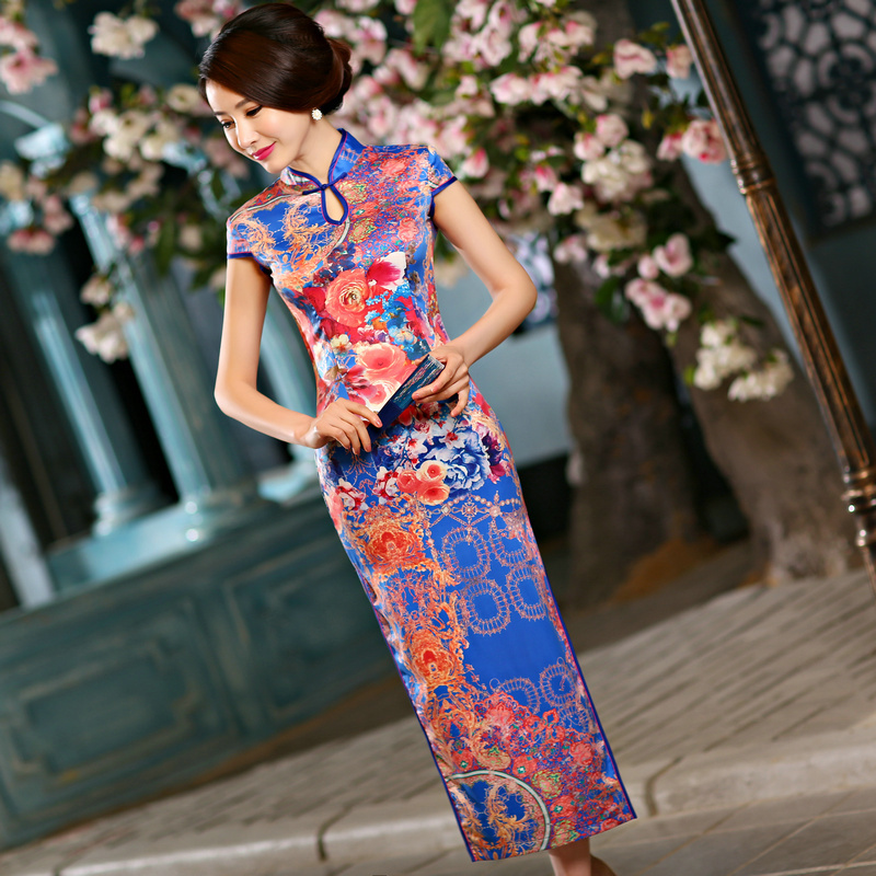 Jewelblue Red Chinese Tradition Womens Silk Velour Hand Coil Clasper Flower Long Cheong-sam Qipao S M L XL XXLОдежда и ак�е��уары<br><br><br>Aliexpress
